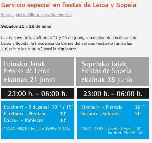Special service for festivities in Sopela in Metro Bilbao